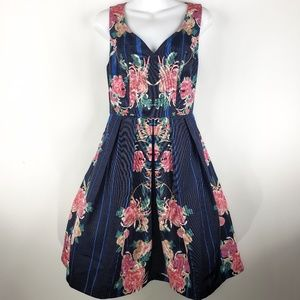 Modcloth Dress S Small Navy Blue Striped Floral S